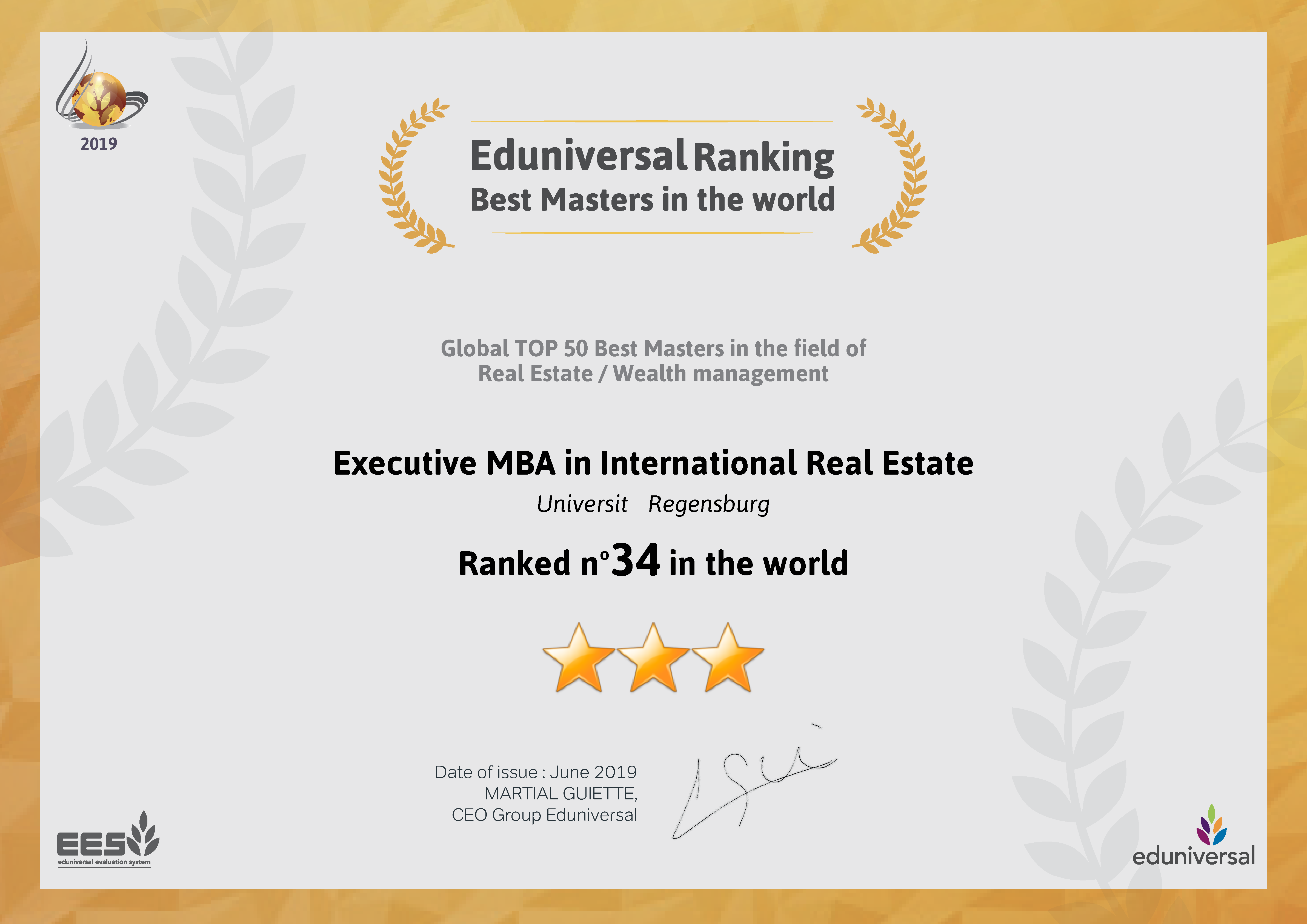 Ed Universal Ranking - Best Masters in the world - Executive MBA in international Real Estate - RAnked No. 34 in the world